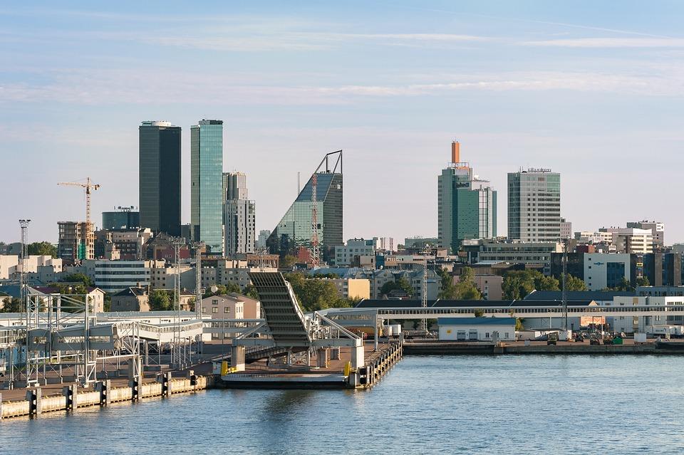 Tallin, Estonia, Panoramę, City, Widok, Porto, Przegląd