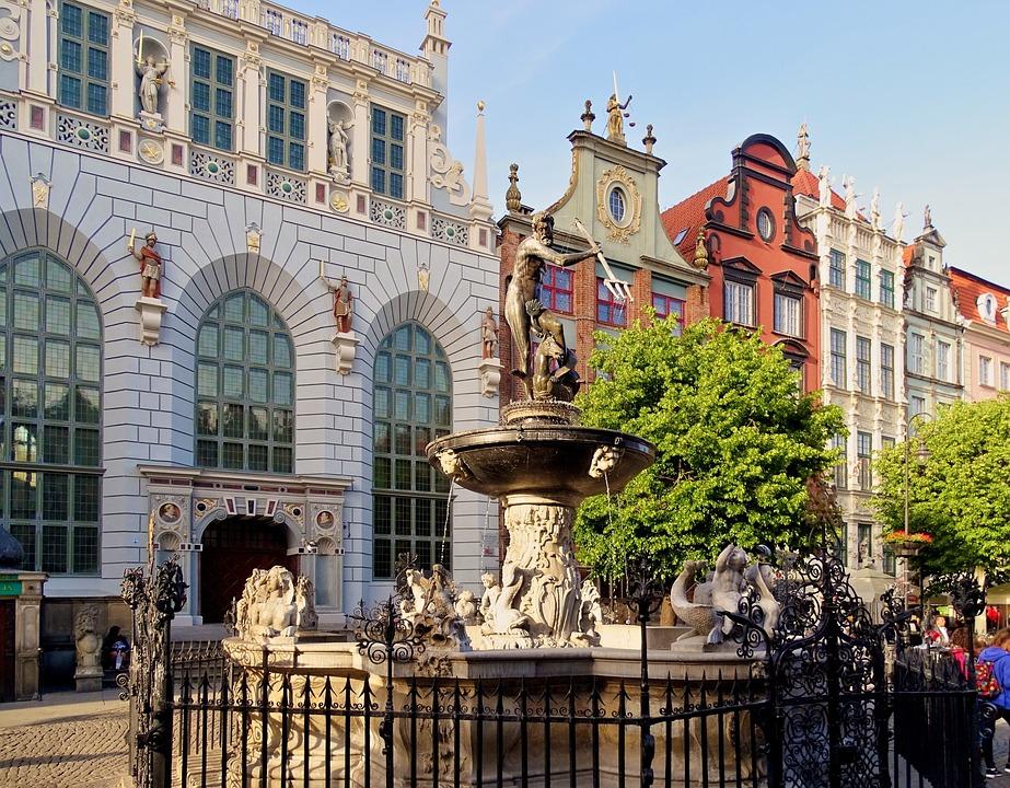 Polska, Gdańsk, Artusa, Neptunbrunnen