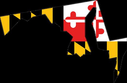 Maryland, State, Usa, Flag, Map, America