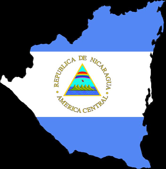ニカラグア, 中央アメリカ, フラグ, 地図, 国