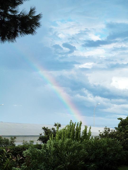 Rainbow Rain Sky Storm Clouds Cloudy Landscape