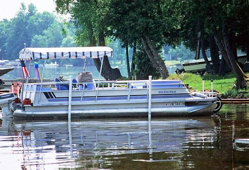 Pontoon Boat River Summer Vessel Boating M