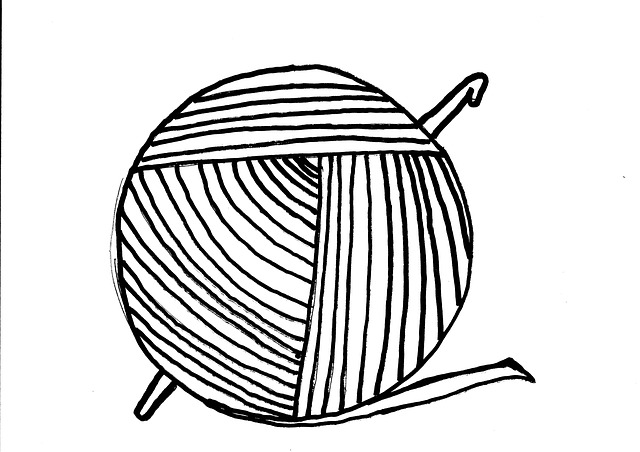 Yarn Clipart Black And White Free illustration: Yar...