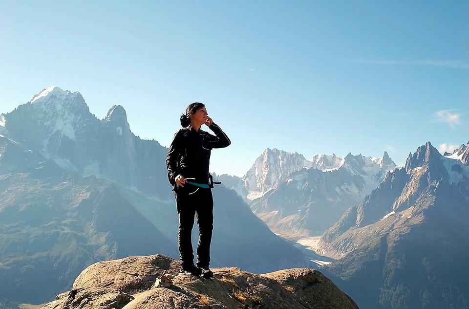 自由, 山, 登山, ページのトップへ, 雪, 人, 満腹, シルエット, 登山家