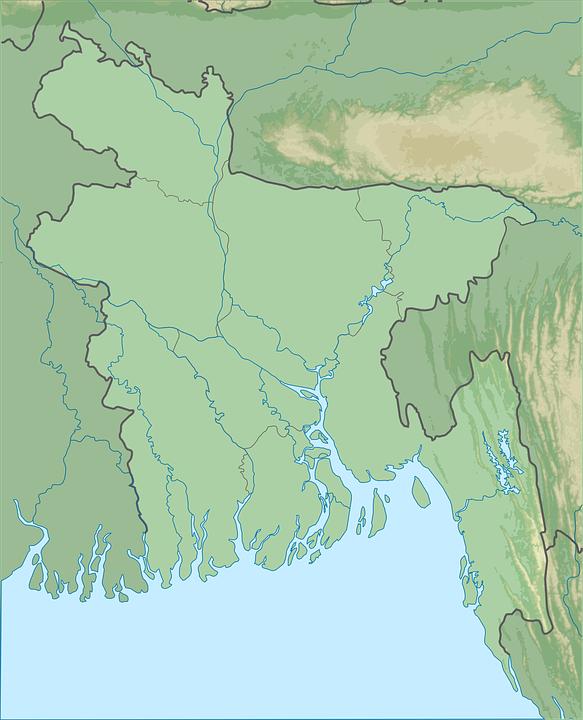 Bangladesh Physical Map Free vector graphic on Pixabay