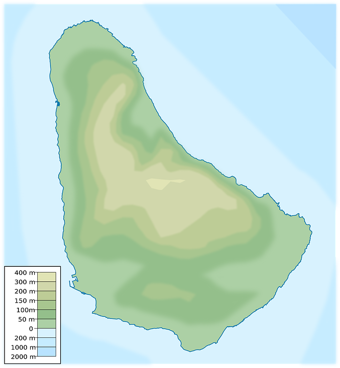 Barbados Physical Map Free vector graphic on Pixabay