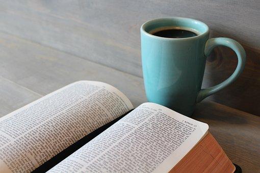 聖書, 研究, コーヒー, カップ, 宗教, キリスト教, 読書, 勉強, 信仰
