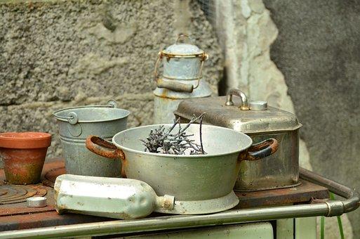 食器, 古い, アンティーク, ノスタルジア, 古い皿, ジャンク, 静物画