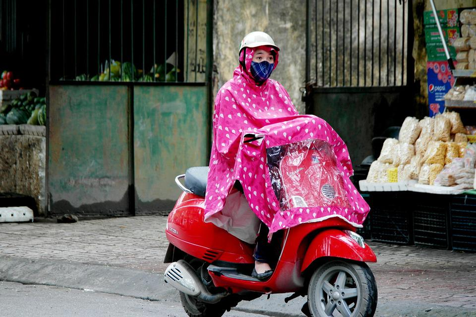 Rainy, Moped, Rain Coat, Vietnam, Woman On Bike