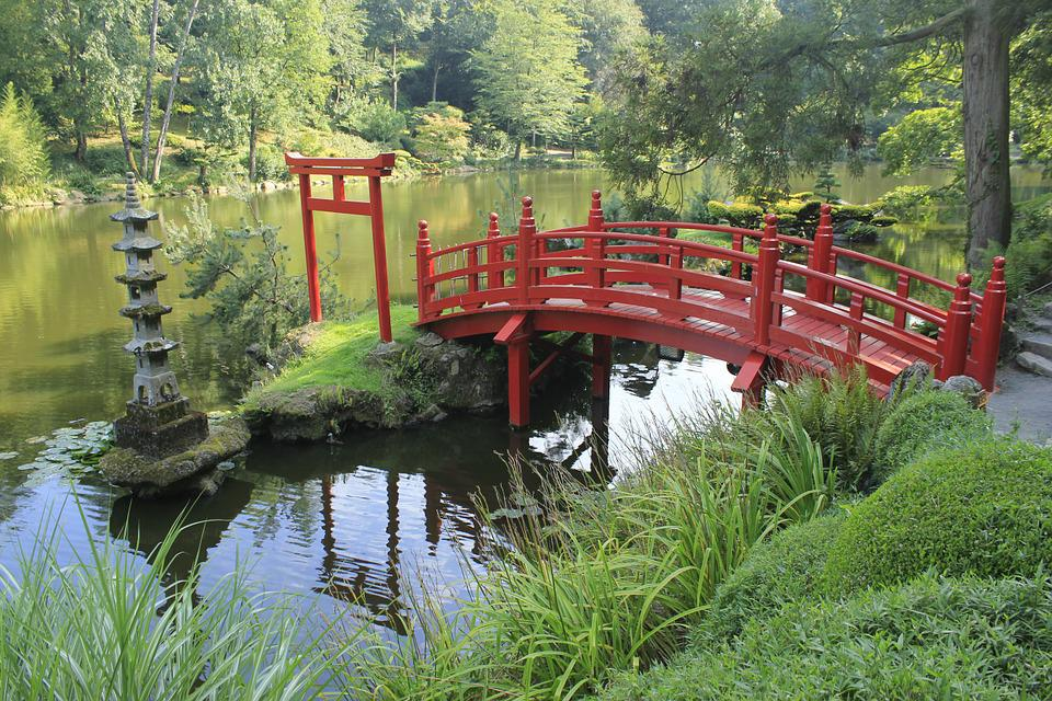 garden bridge japanese garden red bridge france - Red Japanese Garden Bridge