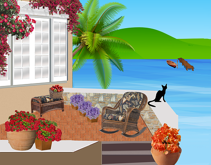 Balcony, Patio, Summer, Chairs, Flowers