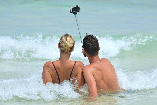 Selfie People Man Woman Selfiestick Ocean