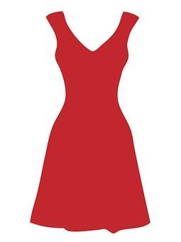 Dress, Red, White, Polka Dots, Dots