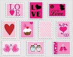love, romance, stamps