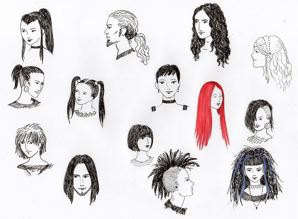 Free Illustration Drawing Hairstyles Heads Hair Free Image - Drawing a hairstyle