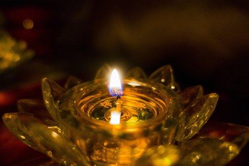 Light, Glass, Lotus, Flames, Burning