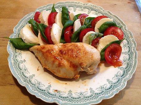 チキン, サラダ, 食べ物, 夏, 聖堂, トマト, モッツァレラ