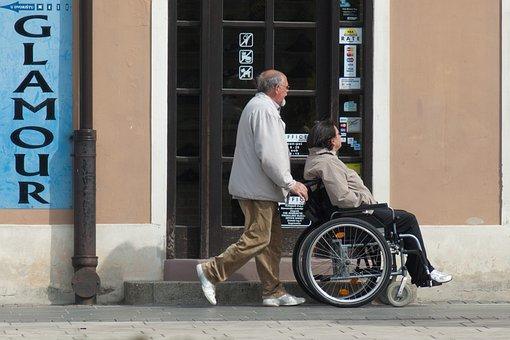 車椅子, ケア, 無効になっています, 人, 女性, 高齢者の介護, 患者