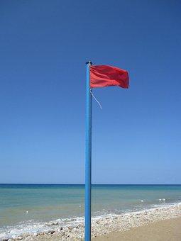 ธงสีแดง, ทะเล, ชายหาด, มหาสมุทร, เตือน