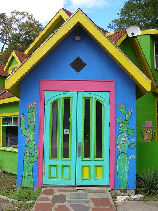 建物, カラフルです, エントリ, 旅行, デザイン, 色, メキシコ, レストラン
