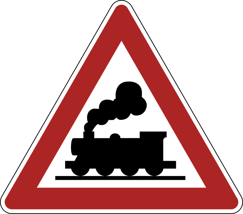 warning railway crossing road sign 183 free vector graphic