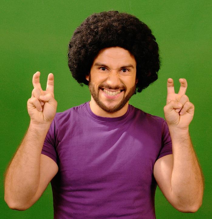 Человек, Смешные, Волосы, Afroamerican, Ретро, 80 Ых