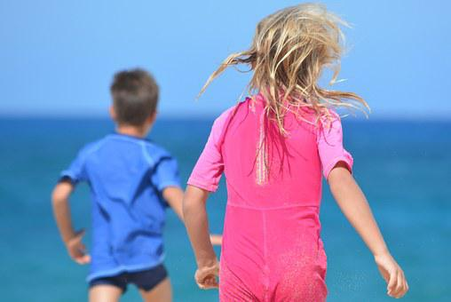 Children, People, Boy, Girl, Walk, Sea
