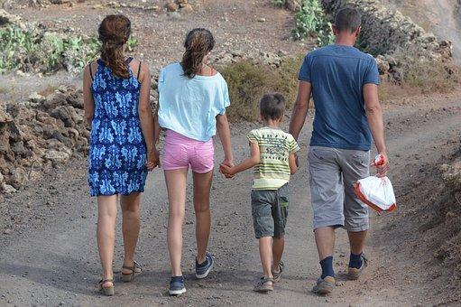 家族, 人々, ハイキング, つながり, 手順, ふざけた, 一体感
