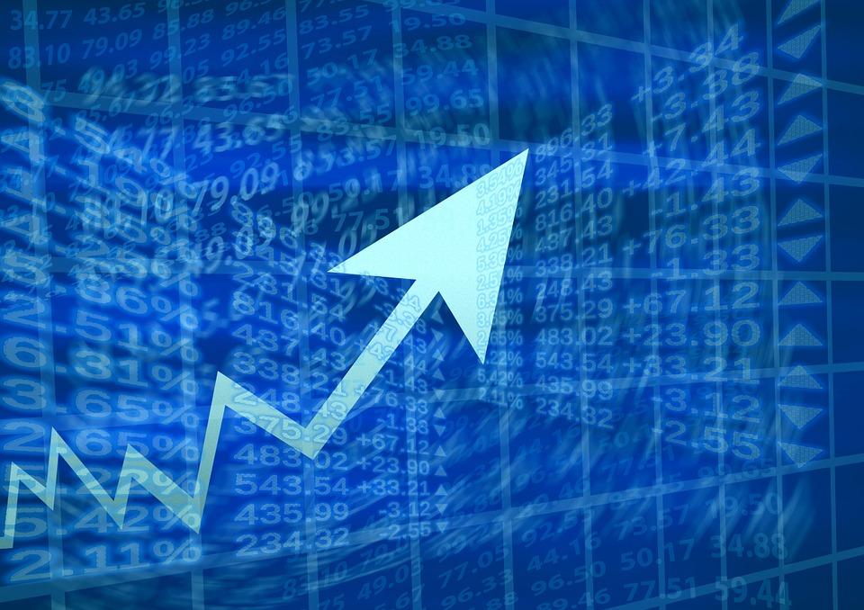 証券取引所, 世界経済, ブーム, 経済, お支払い, パーセント, プラス, マイナス, シンボル, 矢印