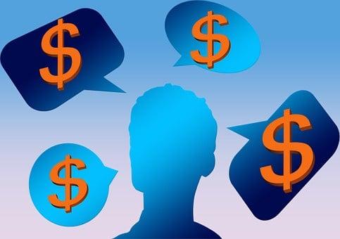 バルーン, 思考バブル, 頭, 男, お金, Dollar, 金融, シンボル