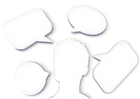 バルーン, 思考バブル, 頭, 男, 裁判官, 考慮します, 思考
