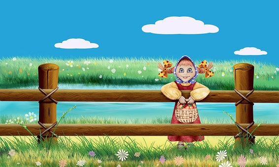 Wallpaper Girl Nature Fence Drawing