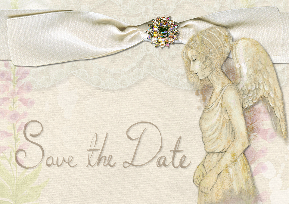 Save The Date, Wedding, Angel, Flowers, Pink, Lace