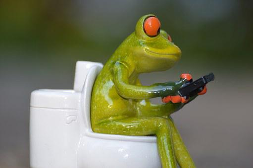 Frog Mobile Phone Toilet Loo Wc Funny Sess