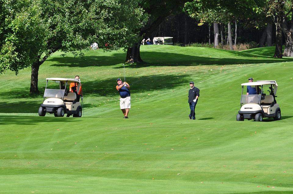 Golf, Voiturettes De Golf, Golfeur, Jouer Au Golf