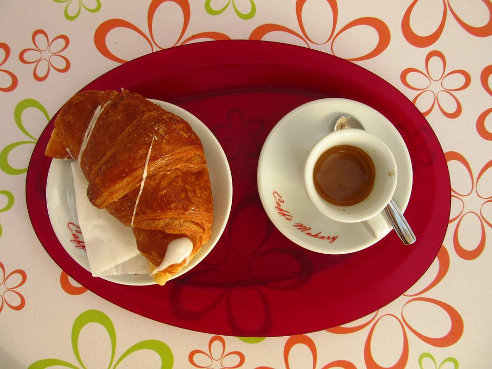 Coffee, Croissant, Breakfast, Colorful, Cup, Color
