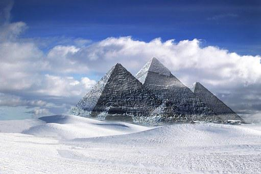Pyramids, Gizeh, Egypt, Snow, Landscape
