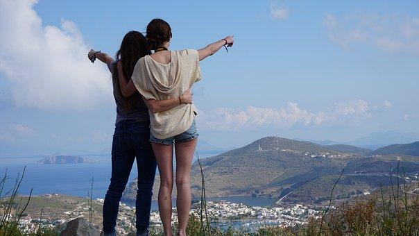 女の子, ポインティング, 見落とす, パトモス島, ギリシャ, 観光