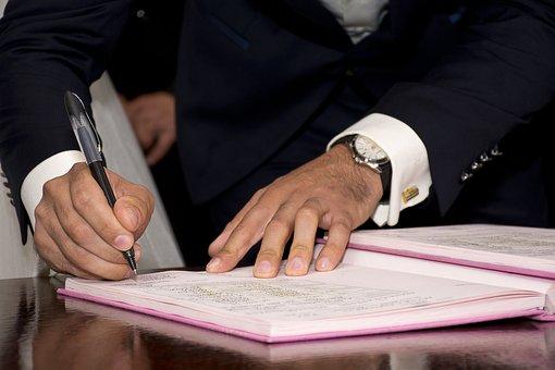 市長, 署名, 記号, 大人, 契約, 結婚前の, 本, 花嫁, 白人, 祝う