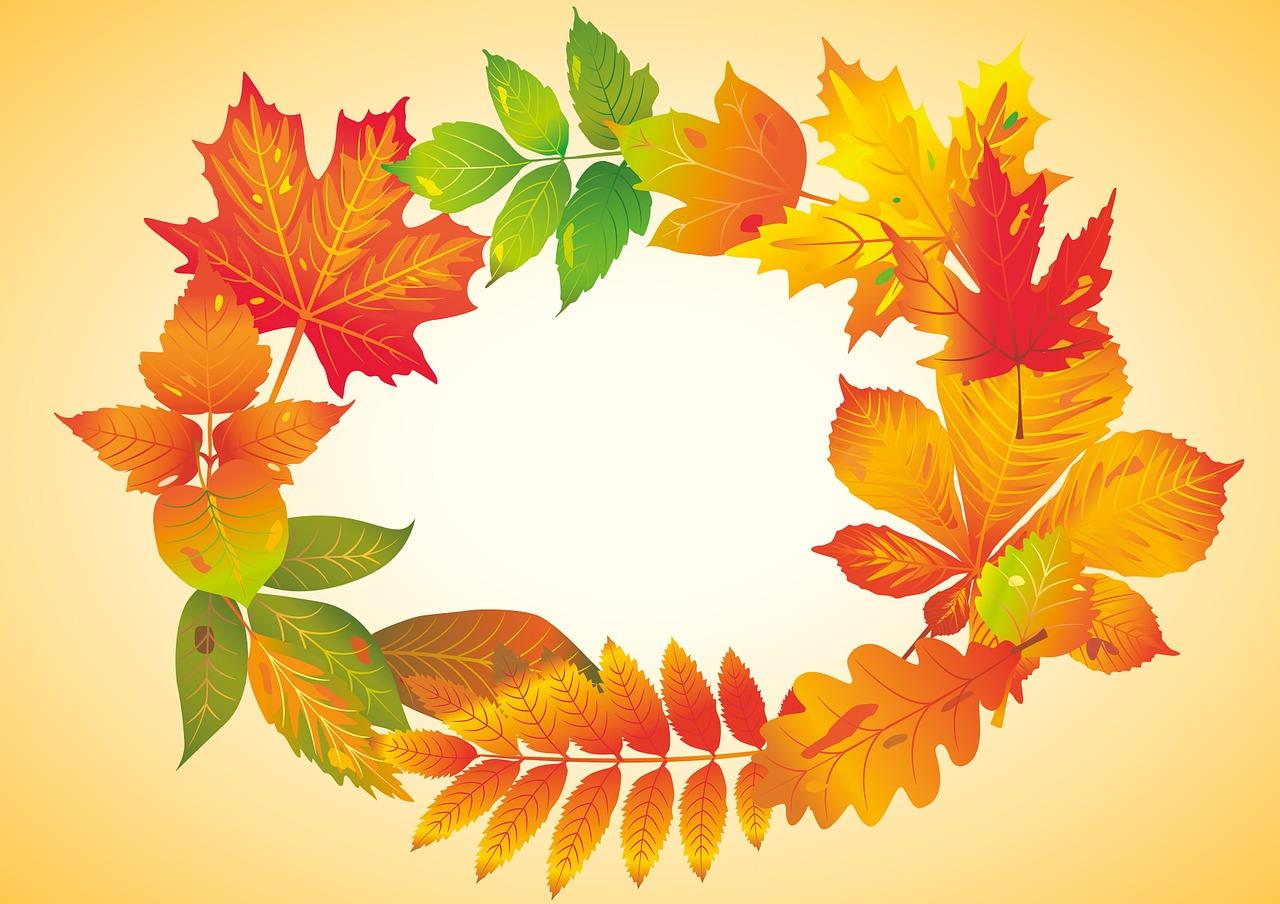 Осенние листья на открытках, большая