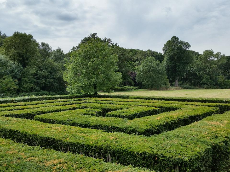 Labyrinth, Kompliziertheit, Grün, Geometrischen, Muster