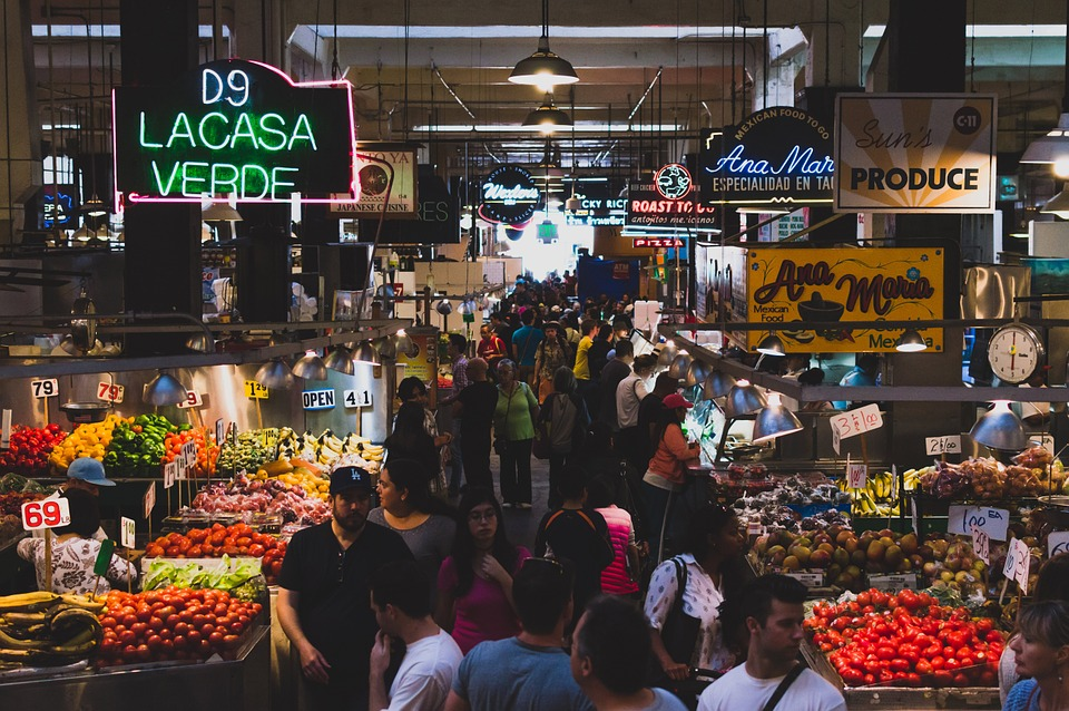 Market, Food, Fruits, Vegetables, People, Crowd, Busy