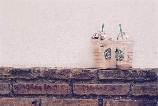 Starbucks Coffee Drinks Bricks Wall Starbu