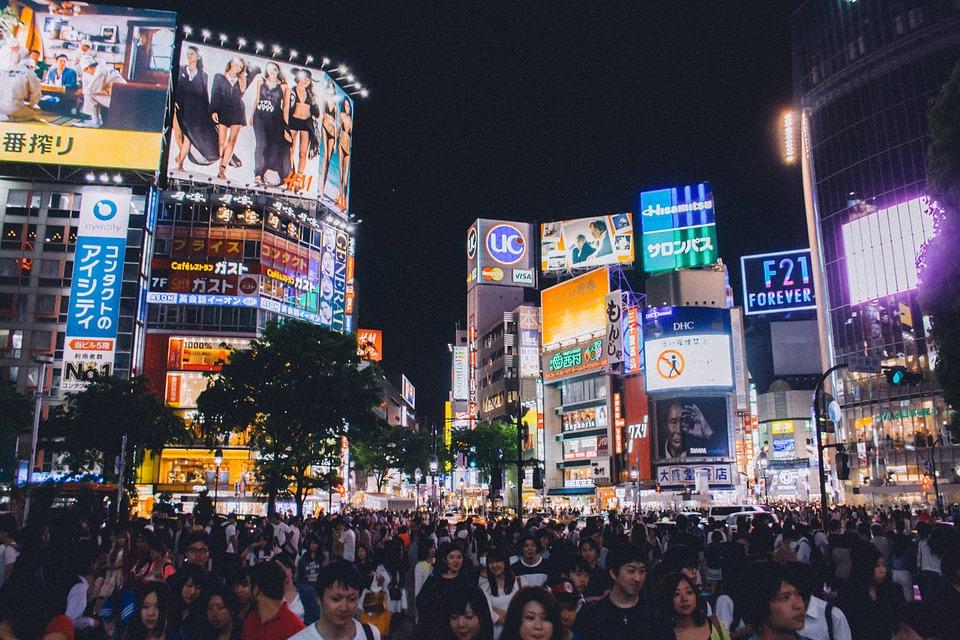 渋谷交差点, 東京, 日本, アジア, 人, 群衆, 忙しい, トラフィック, 看板, 画面, ライト, 主導