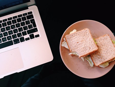 Macbook, Lunch, Sandwich, Food, Plate