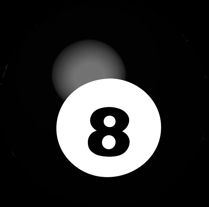 pool ball number 8 sphere ball game billiard 3d