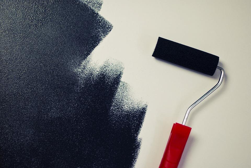 絵画, ペンキローラー, ブラック, 青色塗装, 青色塗料