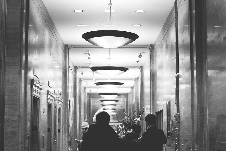 ホテル, エレベーター, ライト, 人, ニューヨーク, アーキテクチャ, 黒と白, グレーのホテル