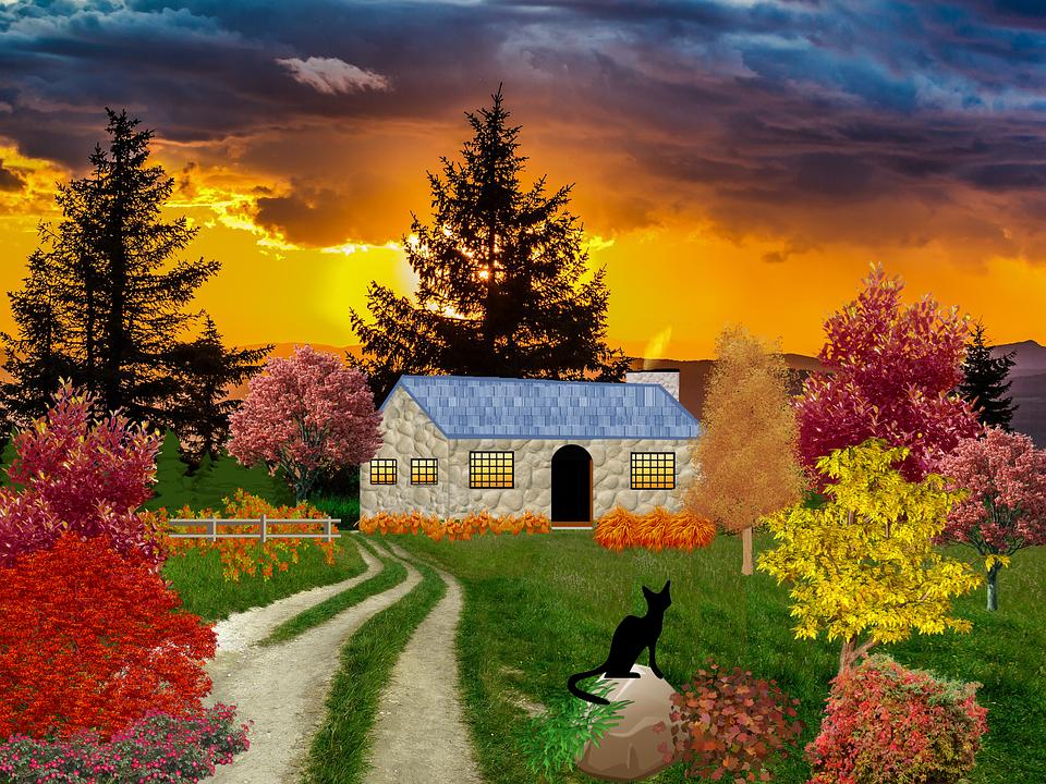 Sonbahar House Ağaçlar Pixabayde ücretsiz Resim