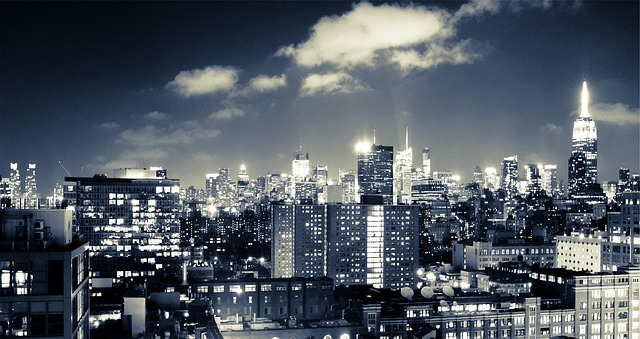 kostenloses foto new york skyline nacht stadt. Black Bedroom Furniture Sets. Home Design Ideas